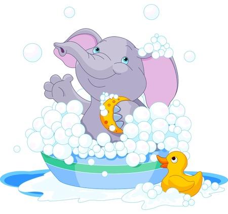 seau d eau: Elephant tr�s mignon ayant un bain savonneuse Illustration