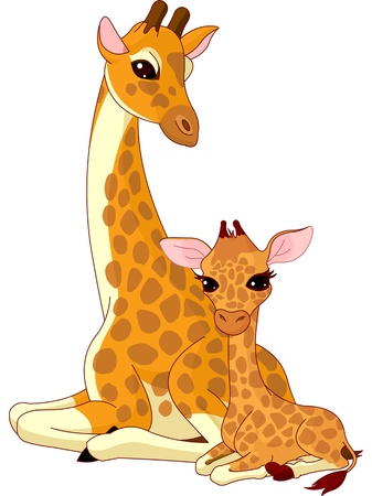 Illustration of mother and baby giraffe.