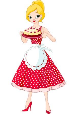맛있는 케이크를 제공하는 아름 다운 젊은 여자 일러스트