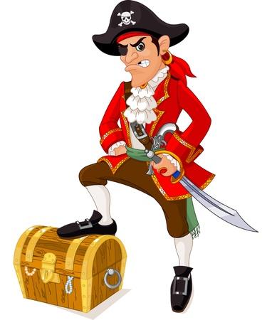 filibuster: Illustrazione di cartone animato pirata Vettoriali