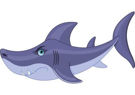 tiburon caricatura: Ilustraci�n de tibur�n lindo de la historieta