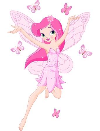 Ilustraci?n de un hada de primavera rosa lindo en vuelo