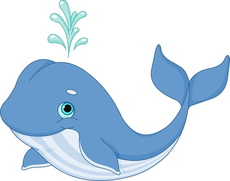 cute cartoons:  Illustration of cute cartoon whale