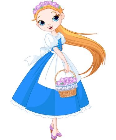 花でいっぱいのバスケットを持つ妖精の女の子