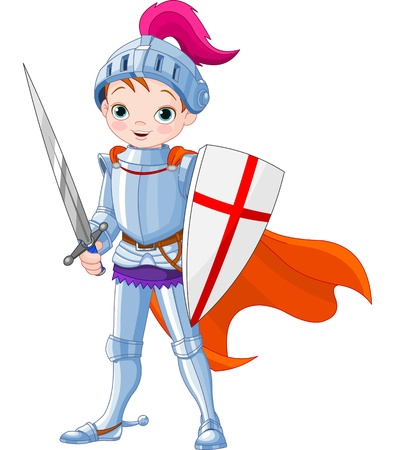 cartoon knight:  Illustration of little knight  Illustration
