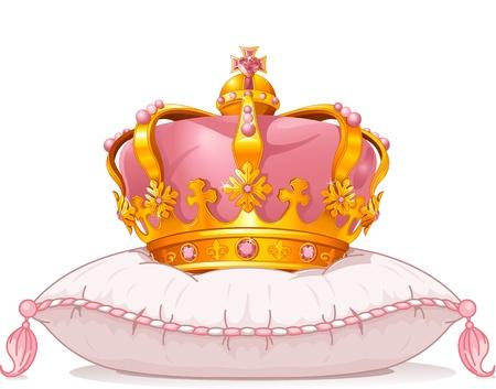 베개에 사랑스러운 왕관 일러스트