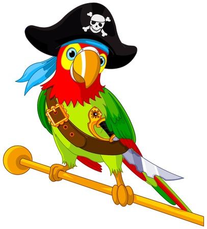 海賊オウムのイラスト  イラスト・ベクター素材