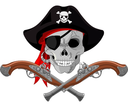 Caribbean sea: Pirate Skull and crossed guns Illustration