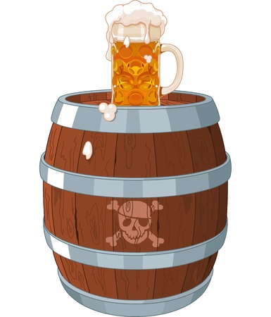 mug of ale: Pirate barrel with glass on top