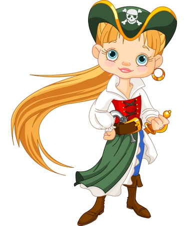 captain ship: Girl dressed as a pirate  Illustration