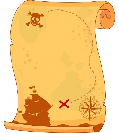 Pergaminho pirata Ilustración de vector