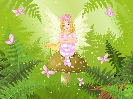 cartoon fairy: Magic fairy with butterfly in forest