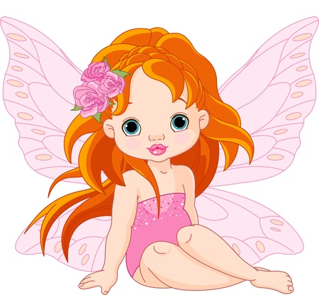Illustration of little sitting fairy