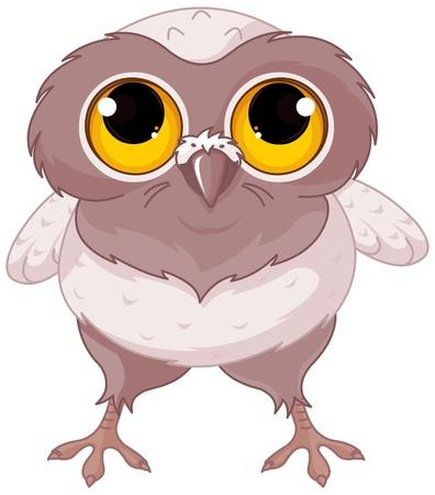 Illustration of a cartoon baby owl  Иллюстрация