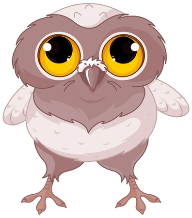 Illustration of a cartoon baby owl Stok Fotoğraf - 21268001