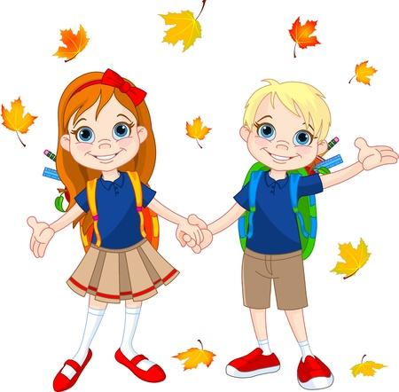 Jongen en meisje klaar voor school in de herfst dag Stock Illustratie