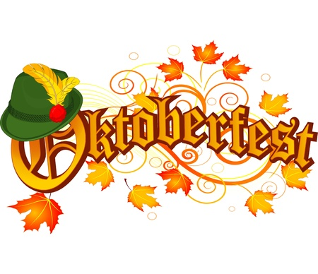 Oktoberfest celebration design with Bavarian hat and autumn leaves Illustration