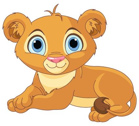 animali: Immagine di riposo piccolo cucciolo di leone Vettoriali