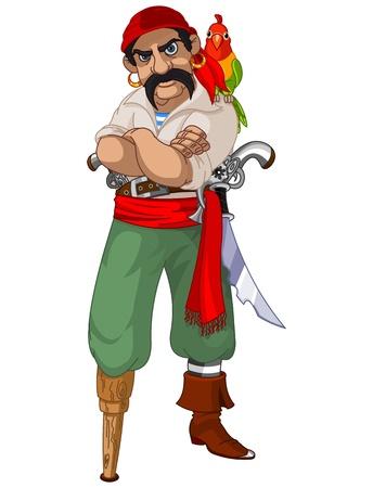 filibuster: Illustrazione di cartone animato pirata con pappagallo Vettoriali