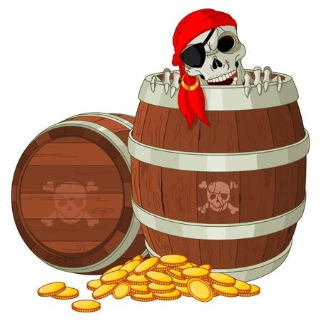 Piraatskelet krijgt uit het vat Stock Illustratie