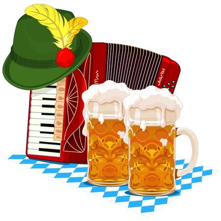 acordeon: Dise�o de Oktoberfest con el acorde�n, la cerveza y el sombrero de Baviera Vectores