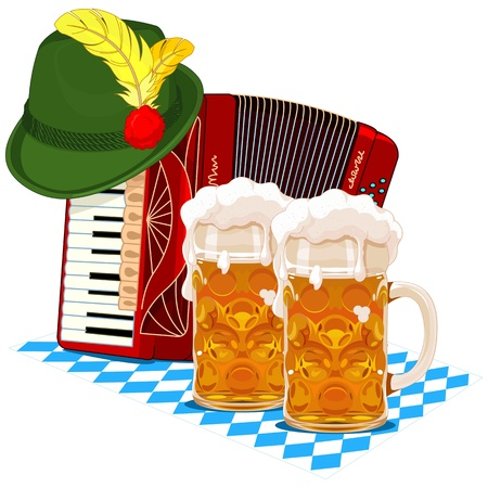 accordion: Oktoberfest design with accordion, beer and Bavarian hat Illustration