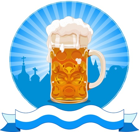 Oktoberfest conception avec le verre de bière Vecteurs