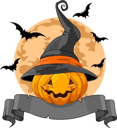 Halloween Design with Pumpkin wearing witch hat Çizim