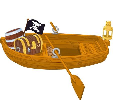 木製の海賊船のイラスト