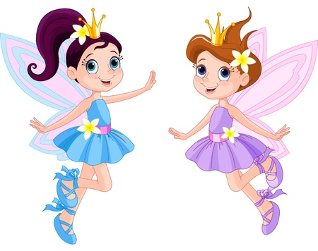 フライで 2 つのかわいい妖精のイラスト  イラスト・ベクター素材