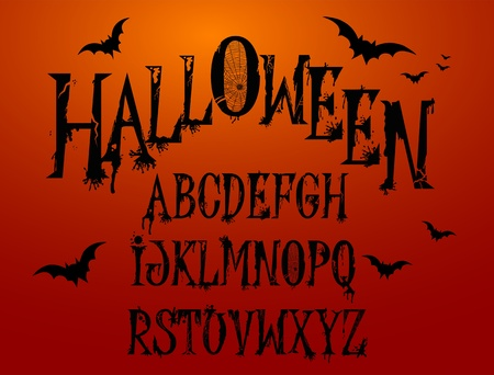 awful:  Halloween Splash Alphabet for your design