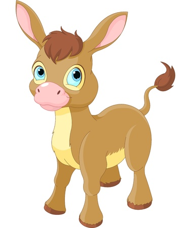 mule:  Illustration of Cute Smiling Donkey