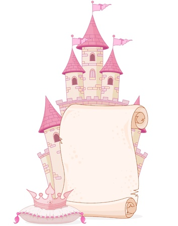Fairy tale theme parchment design with castle and crown