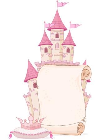 cute: Cuento de hadas del diseño del tema del pergamino con el castillo y la corona Vectores