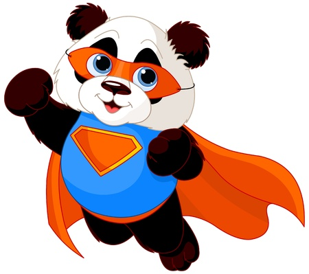 cute bear:  Illustration of Super Hero Panda  Illustration