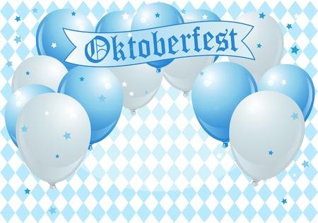 blau weiss: Oktoberfest Celebration Background with Copy Balloons Illustration