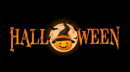 halloween cartoon:   Halloween banner with Pumpkin wearing witch hat