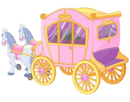 fairy cartoon:  The carriage for true princess Illustration