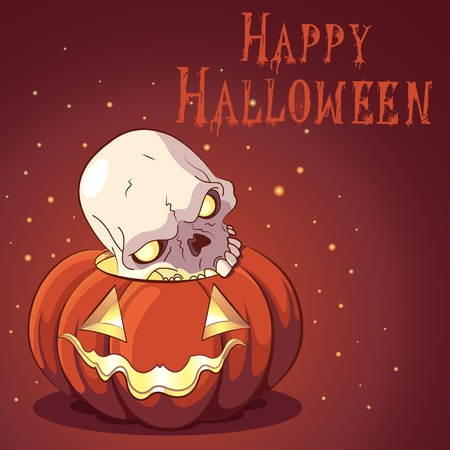 death s head: Halloween design with pumpkin and scull