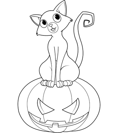Cat sitting on Halloween pumpkin coloring page Vector