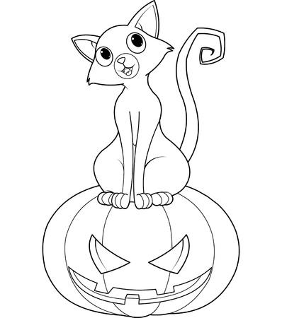 calabaza caricatura: Gato que se sienta en la p�gina para colorear calabaza de Halloween Vectores