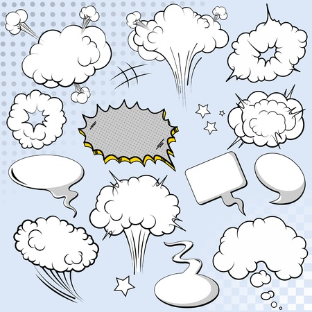 Comics style speech bubbles   balloons on background Illustration