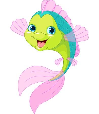 peces caricatura: Sonriendo lindo aislado en blanco