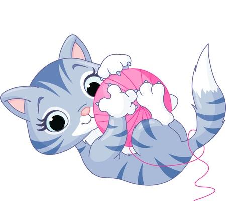cartoon poes: Cute kitten spelen met een bal van garen Stock Illustratie