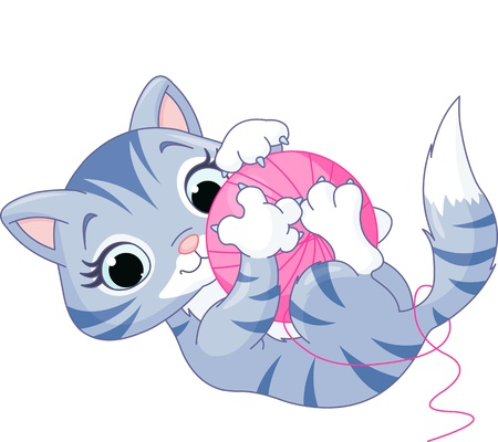 Cute kitten playing with a ball of yarn Illustration