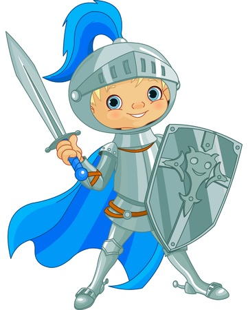 cartoon knight: Illustration of fighting brave knight