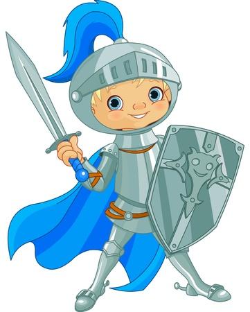 cavaliere medievale: Illustrazione di combattimento coraggioso cavaliere Vettoriali
