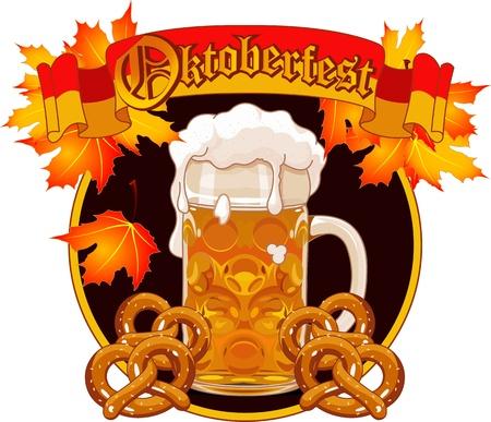 Ronde Oktoberfest Celebration ontwerp met glas bier herfstbladeren