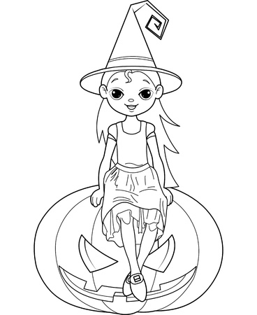Halloween witch  sitting on  pumpkin coloring page