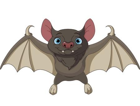 flaying: Illustration of Cute Cartoon Halloween bat flying